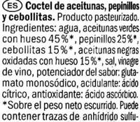 "Surtido de encurtidos ""Baresa"" - Ingredients"