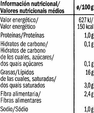 "Surtido de encurtidos ""Baresa"" - Informació nutricional"