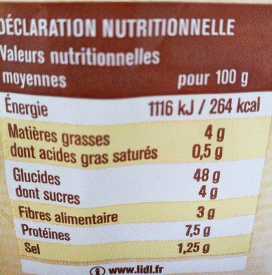 Pain de mie spécial sandwich - Informations nutritionnelles - fr