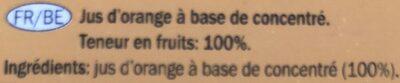 Orange juice from concentrate - Ingrédients - fr