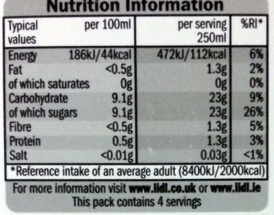 Orange juice from concentrate - Nutrition facts
