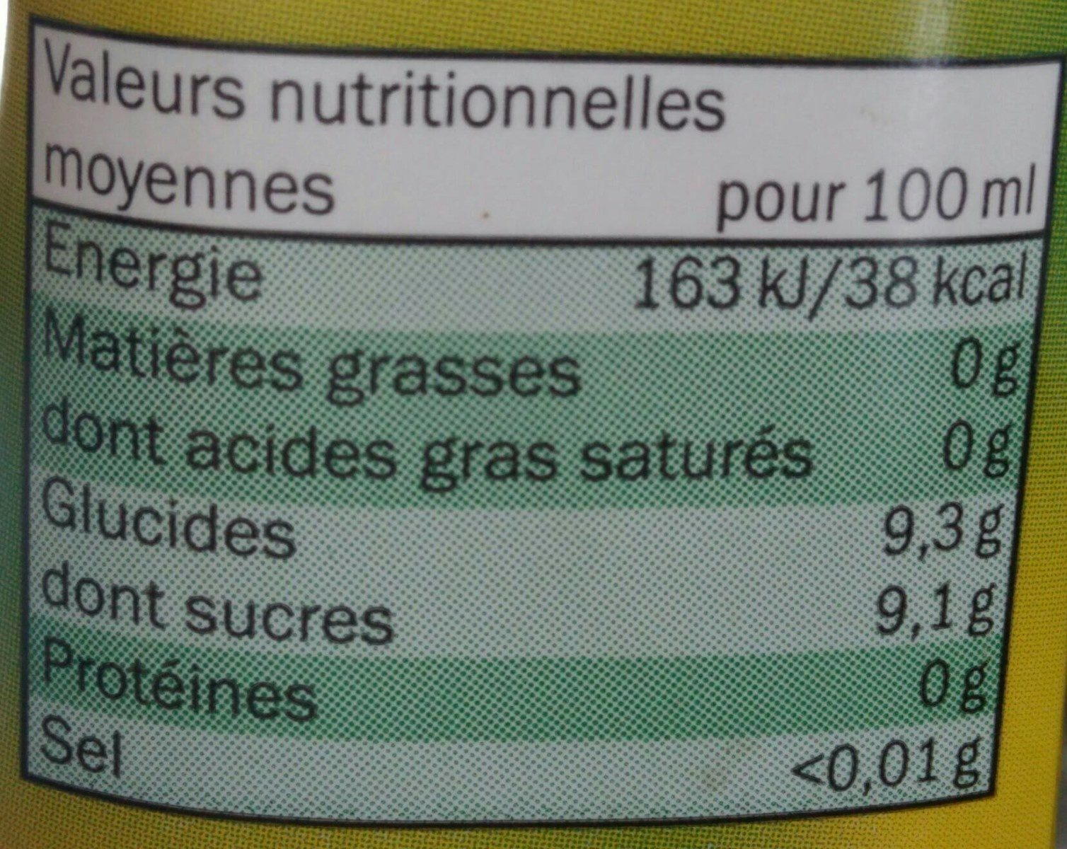boisson a la pomme - Voedingswaarden - fr