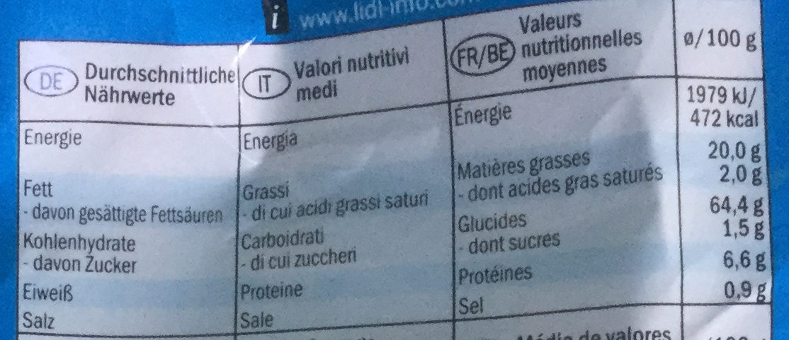 Nature Tortilla - Informations nutritionnelles