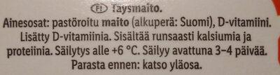 Kotimainen Täysmaito - Ingredients - fi