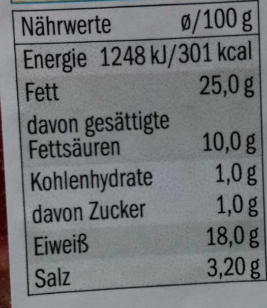 Bacon lardons - Nährwertangaben