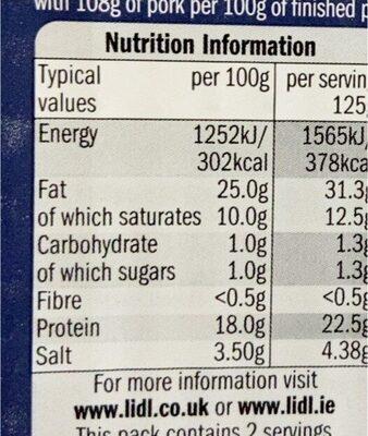 Bacon lardons - Informations nutritionnelles - en