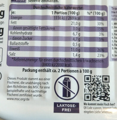 Premium Heringsfilets in Pfeffer-Creme - Nutrition facts
