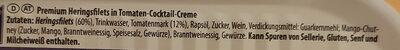 Premium Heringsfilets in Tomaten-Cocktail-Creme - Inhaltsstoffe - de