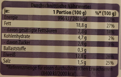 Premium Heringsfilets in Tomaten-Cocktail-Creme - Nutrition facts