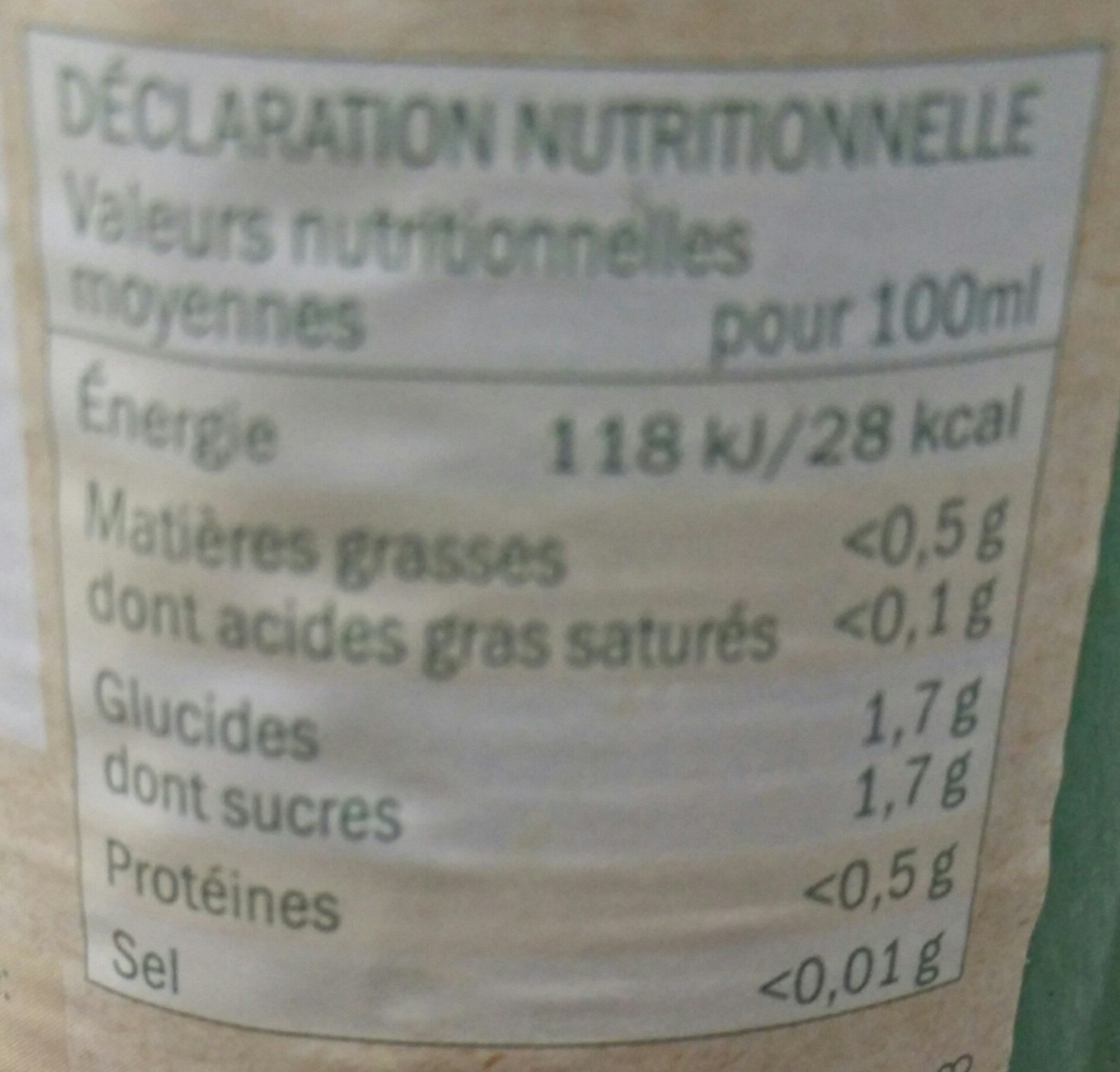 100% pur jus citron - Informations nutritionnelles