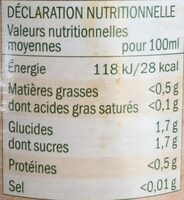 100% pur jus citron - Informations nutritionnelles - fr