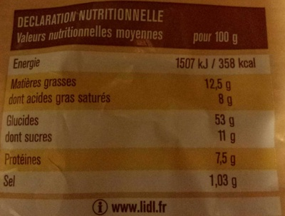 Brioche Pur beurre-Aux oeufs-Tranchée - Informations nutritionnelles - fr