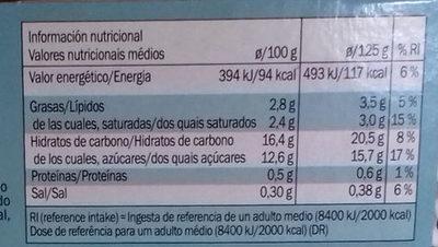 Dessert a base de lait de coco - Informació nutricional - es