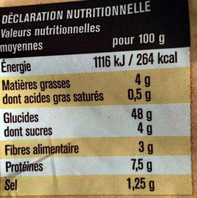 Pain de mie spécial sandwich nature - Voedingswaarden - fr