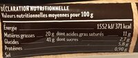 Pâte brisée - Nutrition facts - fr