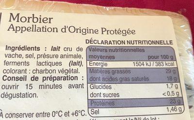 Morbier Appellation d'Origine Protégée - Ingrédients - fr