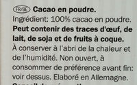 Cacao en poudre - Ingredients