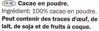 Cacao en poudre - Inhaltsstoffe - fr