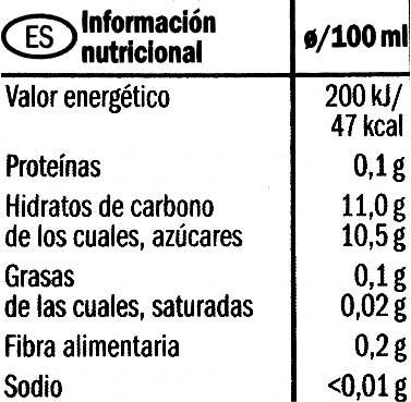 Manzana exprimida bio - Informació nutricional - fr