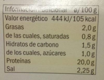 Pechuga de pollo - Nutrition facts - es