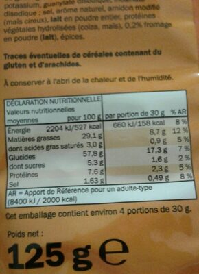 Flips fromage - Nährwertangaben - fr