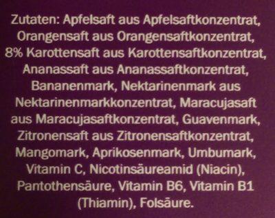 Multivitamin aus 11 Früchten und Karotte - Inhaltsstoffe