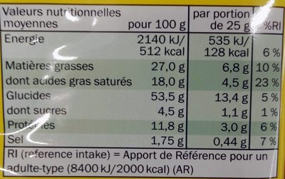 Flûtes au fromage - Informations nutritionnelles