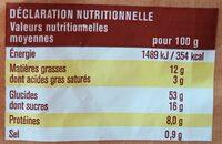 8 briochettes pépites chocolat noir - Informations nutritionnelles - fr