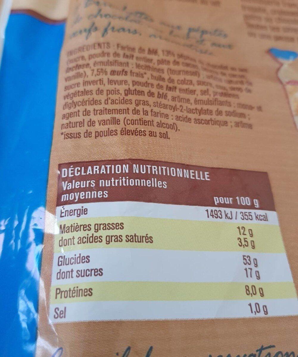 Briochettes aux pépites de chocolat au lait - Informations nutritionnelles - fr