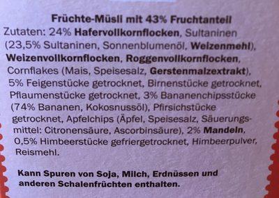 Früchte - Müsli - Ingrediënten