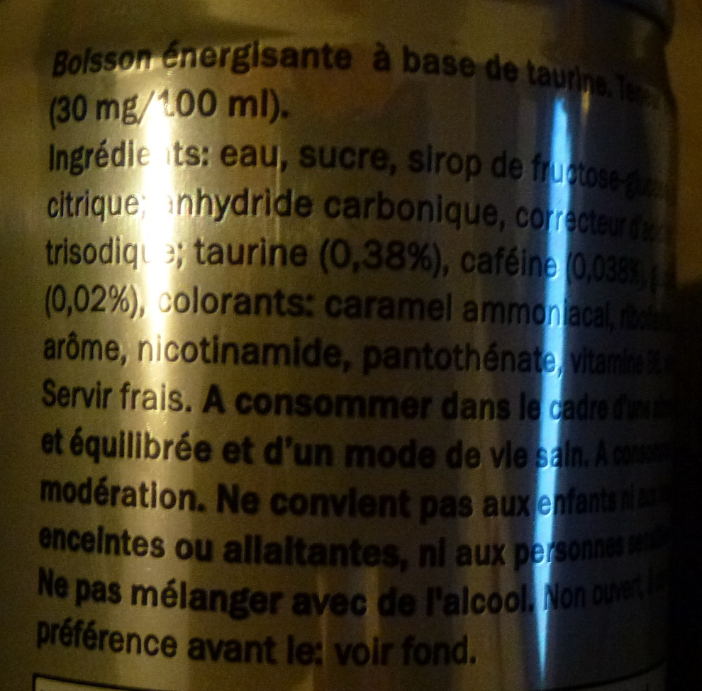 Classic energy drink - Ingredients