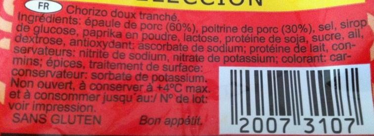 Chorizo Extra - Ingrediënten