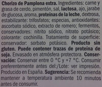 Chorizo extra de Pamplona - Ingrediënten - es