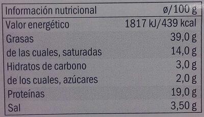 CHORIZO DE PAMPLONA EXTRA - Nutrition facts