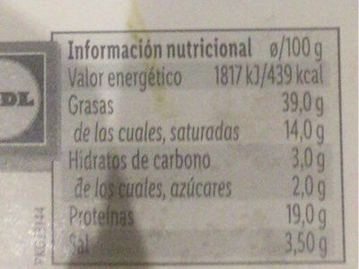Chorizo extra de Pamplona - Informació nutricional - es