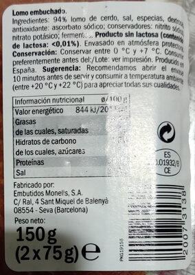 Lomo Embuchado - Ingredientes