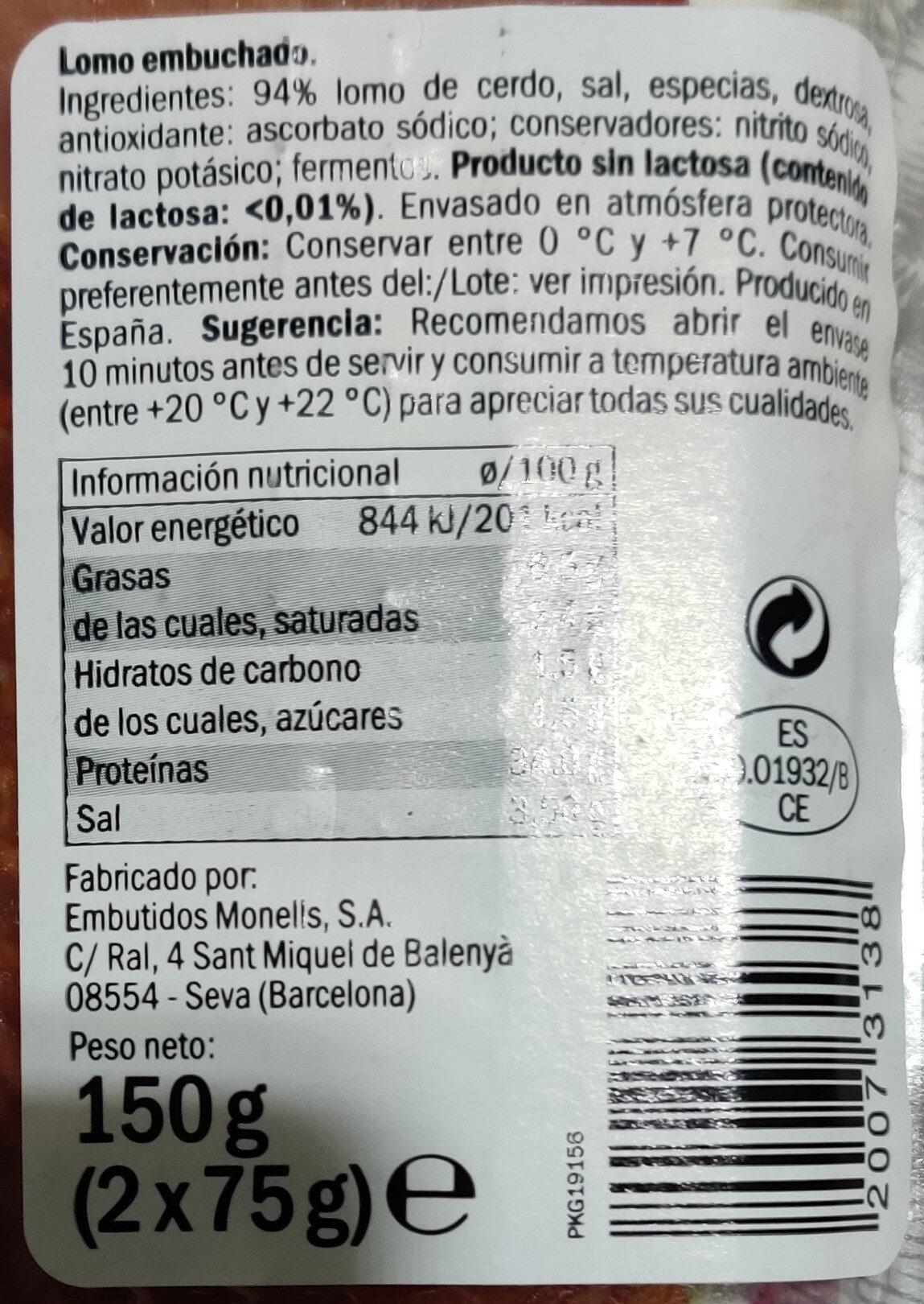 Lomo Embuchado - Ingredientes - es