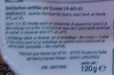 Saumon Atlantique fumé bio - Ingredients