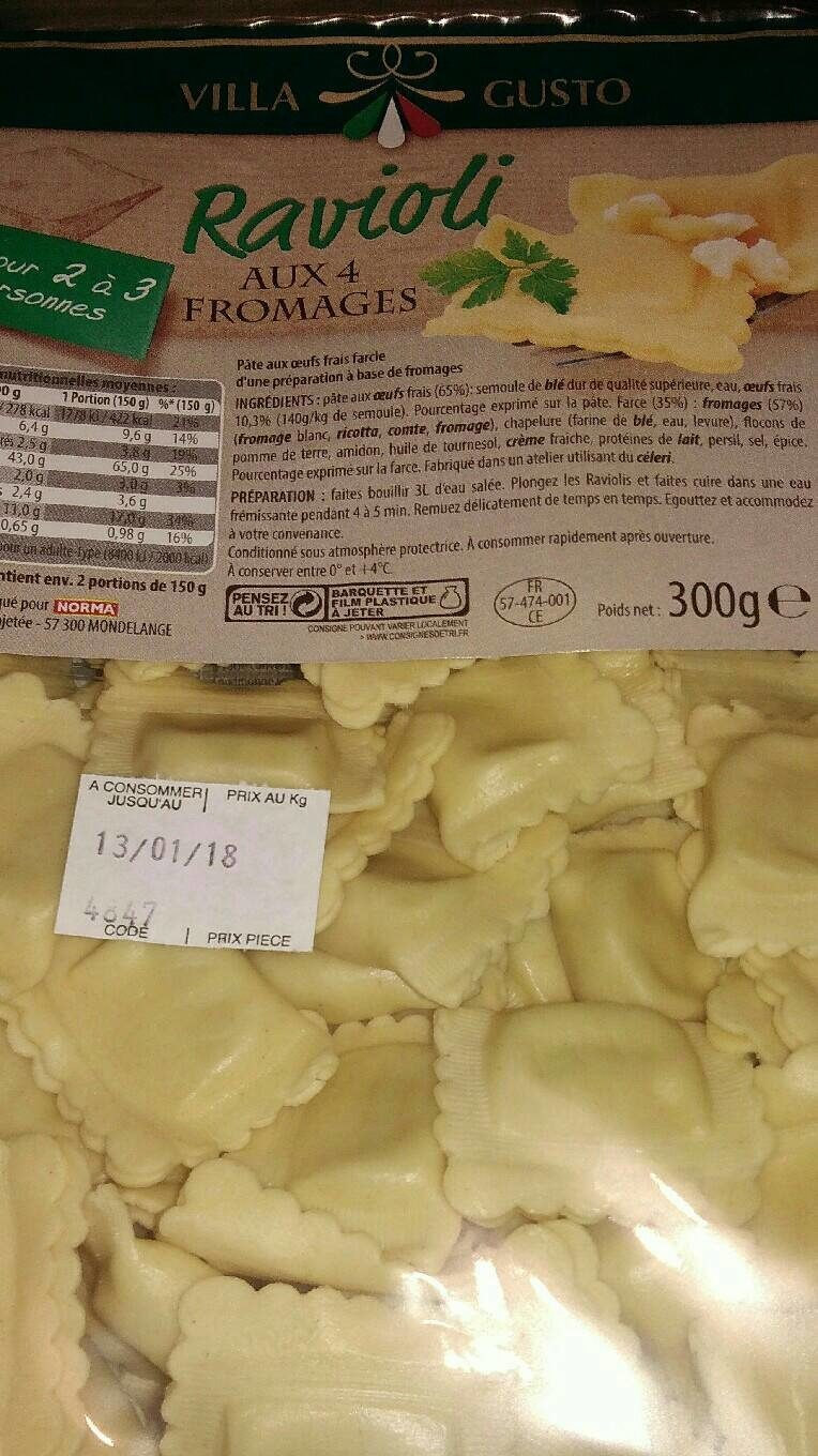 Ravioli Aux 4 Fromages - Nutrition facts
