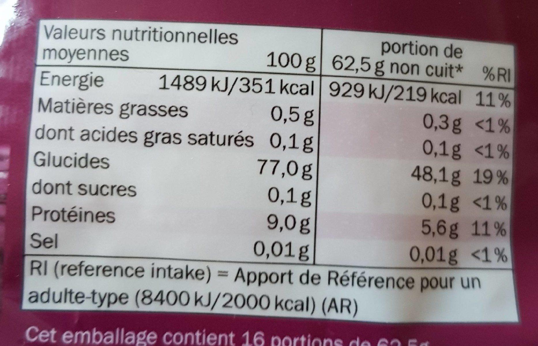 Riz Basmati - Informations nutritionnelles