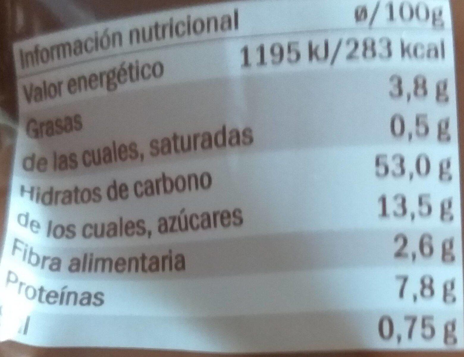 Pan hot dog - Voedingswaarden - es