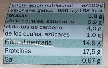 Rulo vegetal Setas y pimientos - Informació nutricional