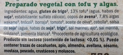 Rulo vegetal Tofu y algas - Ingredients