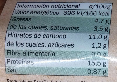 Rulo vegetal Tofu y algas - Nutrition facts