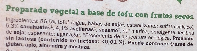Tofu Frutos Secos Bio - Ingredients