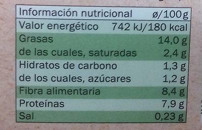 Tofu Frutos Secos Bio - Información nutricional