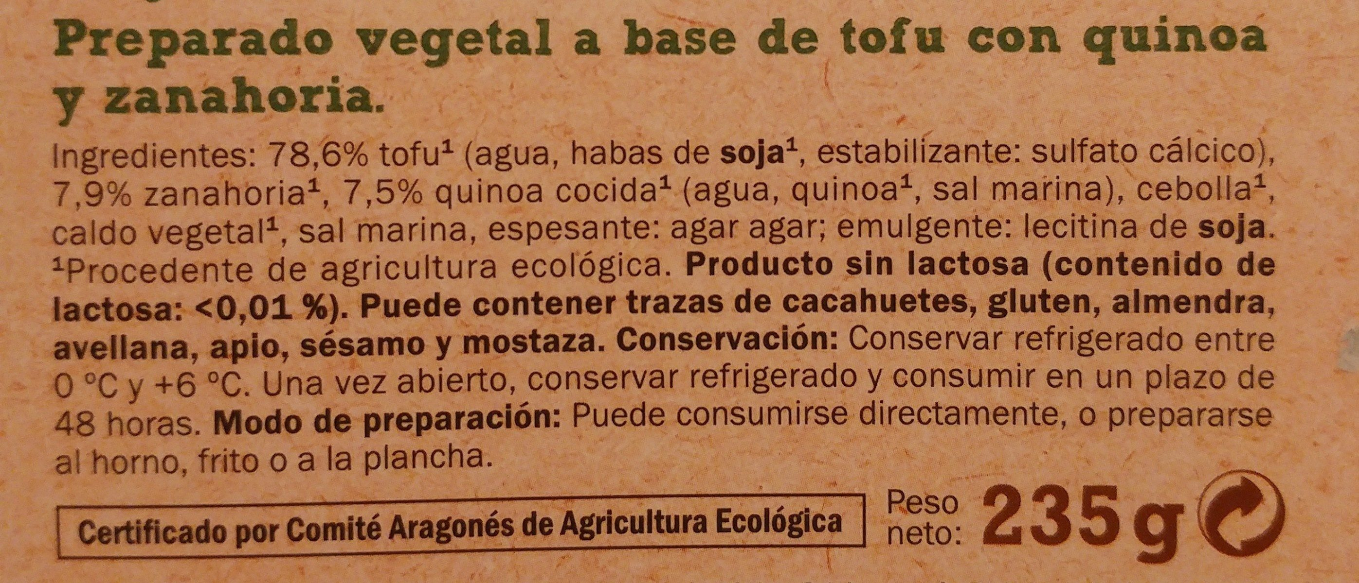 Tofu Quinoa y Zanahoria Bio - Ingrédients