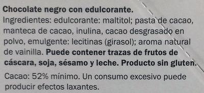 Chocolate negro 52% - Ingredients - es