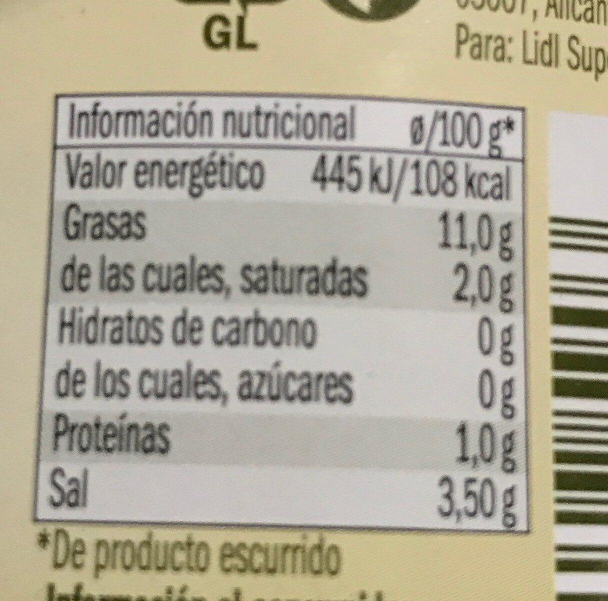 Aceituna gordal rellena jalapeño - Informació nutricional - es