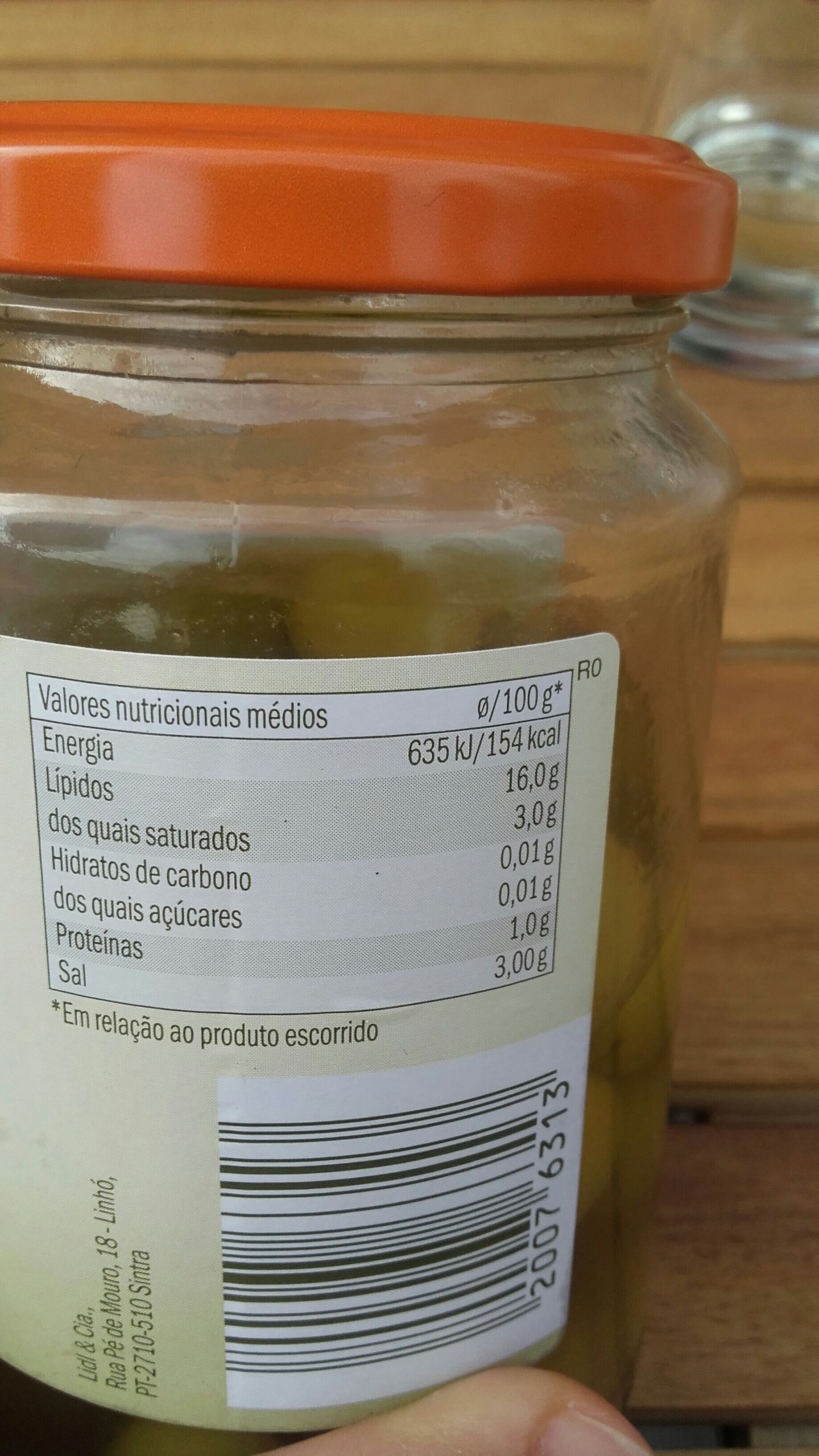 Azeitonas verdes recheadas com pimento - Informations nutritionnelles